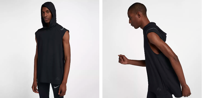 86f07914c98e9 The Nike Dri-FIT Element Men s Sleeveless Running Hoodie features  sweat-wicking fabric and a dropped back hem to help keep you dry and  comfortably covered ...