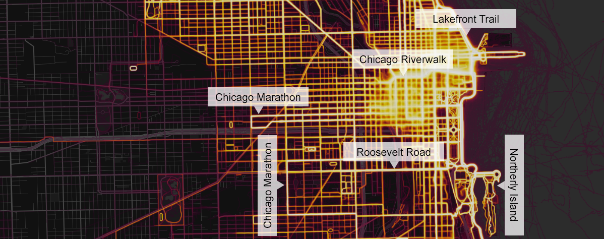 Riverwalk Chicago Map.The Fitness App Strava Reveals Where Chicagoans Run The Most